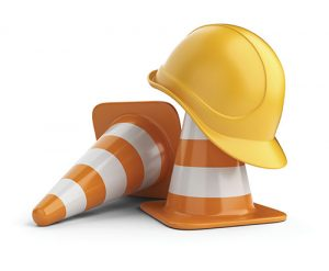 Traffic cones and hardhat 3D. Isolated